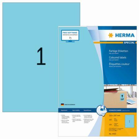 Herma 4403 íves etikett, kék, 210 x 297 mm, 100 ív/csomag